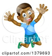 Clipart Of A Happy And Excited Black Boy Jumping Royalty Free Vector Illustration by AtStockIllustration