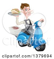 Clipart Of A White Male Waiter With A Curling Mustache Holding A Souvlaki Kebab Sandwich On A Scooter Royalty Free Vector Illustration by AtStockIllustration