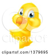 Clipart Of A Cute Yellow Easter Chick Pointing Around A Sign Royalty Free Vector Illustration