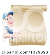 Happy Brunette Middle Aged Caucasian Mechanic Man In Blue Pointing Around A Blank Scroll Sign