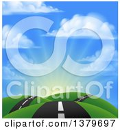 Clipart Of A Landscape With A Road Going Over Green Hills Against Sunrise Royalty Free Vector Illustration by AtStockIllustration