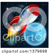 Clipart Of A Rocket Ship Over A Full Moon Royalty Free Vector Illustration by AtStockIllustration