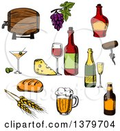 Clipart Of Sketched Beer Wine Cheese And Beer Royalty Free Vector Illustration
