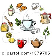 Clipart Of A Sketched Circle Of Tea Items Royalty Free Vector Illustration