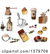Clipart Of Sketched Coffee Items Royalty Free Vector Illustration