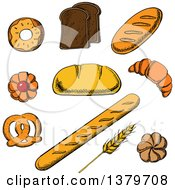 Clipart Of Sketched Bread And Pastries Royalty Free Vector Illustration