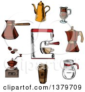 Clipart Of A Sketched Circle Of Coffee Elements Royalty Free Vector Illustration