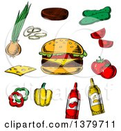 Clipart Of A Sketched Cheeseburger And Ingredients Royalty Free Vector Illustration