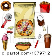 Clipart Of Sketched Fast Foods Royalty Free Vector Illustration