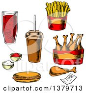 Clipart Of Sketched Fast Foods Royalty Free Vector Illustration by Vector Tradition SM