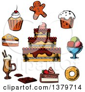Clipart Of Sketched Desserts Royalty Free Vector Illustration
