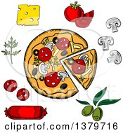 Clipart Of A Sketched Pizza And Ingredients Royalty Free Vector Illustration