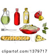 Clipart Of Sketched Spaghetti And Ingredients Royalty Free Vector Illustration