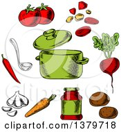 Clipart Of A Sketched Soup Pot And Ingredients Royalty Free Vector Illustration