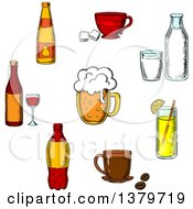 Clipart Of A Sketched Circle Of Beverages Royalty Free Vector Illustration