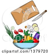 Clipart Of A Sketched Salad And Ingredients Royalty Free Vector Illustration