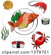Clipart Of Sketched Sea Food Royalty Free Vector Illustration