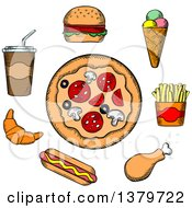 Clipart Of A Sketched Circle Of Fast Foods Royalty Free Vector Illustration