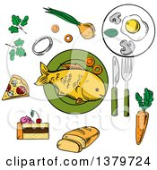 Clipart Of Sketched Food Royalty Free Vector Illustration