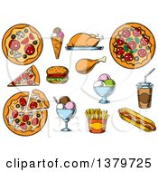 Clipart Of Sketched Fast Foods And Ice Cream Royalty Free Vector Illustration