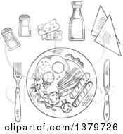 Clipart Of A Black And White Sketched Plated Meal And Condiments Royalty Free Vector Illustration