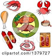 Clipart Of Sketched Seafood And Meat Royalty Free Vector Illustration