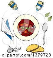 Clipart Of A Sketched Bowl Of Soup And Ingredients Royalty Free Vector Illustration