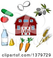 Clipart Of A Sketched Barn And Agriculture Items Royalty Free Vector Illustration