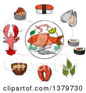 Clipart Of Sketched Seafood Royalty Free Vector Illustration