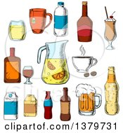 Clipart Of Sketched Beverages Royalty Free Vector Illustration