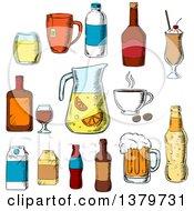 Poster, Art Print Of Sketched Beverages