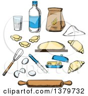 Clipart Of Sketched Baking Ingredients Royalty Free Vector Illustration by Vector Tradition SM