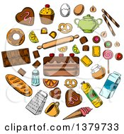 Clipart Of A Sketched Circle Of Food Royalty Free Vector Illustration