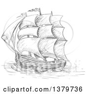 Clipart Of A Grayscale Sketched Ship Royalty Free Vector Illustration