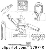 Clipart Of A Black And White Sketched Dentist And Accessories Royalty Free Vector Illustration