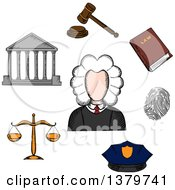 Clipart Of A Sketched Judge And Icons Royalty Free Vector Illustration