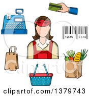Clipart Of A Sketched Store Clerk And Grocery Items Royalty Free Vector Illustration