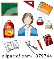 Clipart Of A Sketched Teacher And Items Royalty Free Vector Illustration