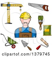 Clipart Of A Sketched Construction Worker And Tools Royalty Free Vector Illustration