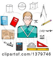 Clipart Of A Sketched Teacher And Math Items Royalty Free Vector Illustration by Vector Tradition SM