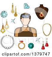 Clipart Of A Sketched Jeweler And Icons Royalty Free Vector Illustration