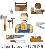 Sketched Carpenter And Tools