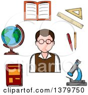 Clipart Of A Sketched Teacher And Items Royalty Free Vector Illustration by Vector Tradition SM