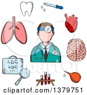 Clipart Of A Sketched Doctor And Icons Royalty Free Vector Illustration