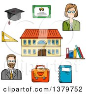Clipart Of A Sketched School Teachers And Items Royalty Free Vector Illustration by Vector Tradition SM