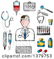 Clipart Of A Sketched Doctor And Health Icons Royalty Free Vector Illustration