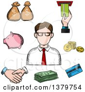 Clipart Of A Sketched Businessman And Money Icons Royalty Free Vector Illustration