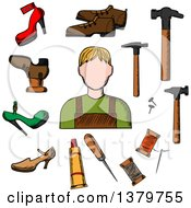 Clipart Of A Sketched Cobbler And Accessories Royalty Free Vector Illustration by Vector Tradition SM
