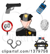 Clipart Of A Sketched Police Officer And Icons Royalty Free Vector Illustration by Vector Tradition SM