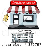 Clipart Of A Sketched Online Shop And Keyboard Royalty Free Vector Illustration